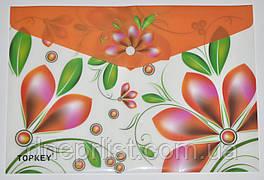 """Папка-конверт А4, на кнопке """"Цветы"""", оранжевая"""