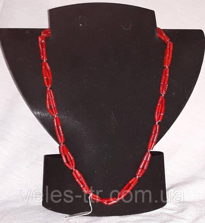 Бусы Коралл красный Трубочка жгут 53 см