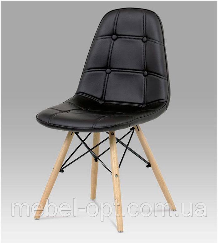Стул Alex черная экокожа на деревянных ножках, скандинавский стиль, дизайн Charles Eames