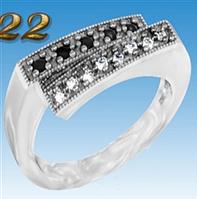 Кольцо черненое серебро 925, цирконий, размер 19,5 вес 2,93