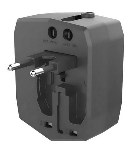 Мультитревел адаптер Nomi UC01 із вбудованим акумулятором 3000мА*г Чорний, фото 2