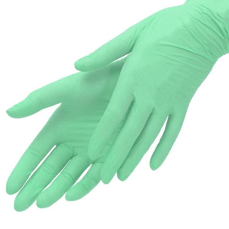 Нитриловые перчатки мятные, неопудренные M, 100 шт/уп