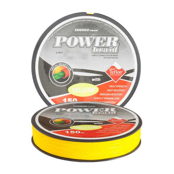 Шнур Energofish ET Power Braid X8 Teflon Coated Yellow 150m 0.35mm 31.5kg (30900135)