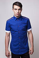 Летняя мужская рубашка с коротким рукавом с декоративной отделкой в морском стиле