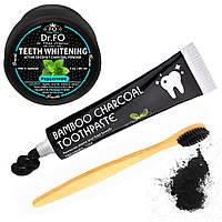 Набор, Carbon Coconut Пудра для отбеливания Угольная зубная щетка Зубная паста с Активированным Углем