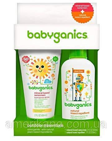 Детский солнцезащитный крем 50+ SPF Sunscreen + репелент защита от насекомых от BabyGanics по 59 мл