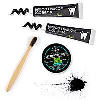 Активированный Уголь Скорлупы Кокоса для отбеливания зубов Бамбуковая зубная щетка и Зубная паста 2 шт