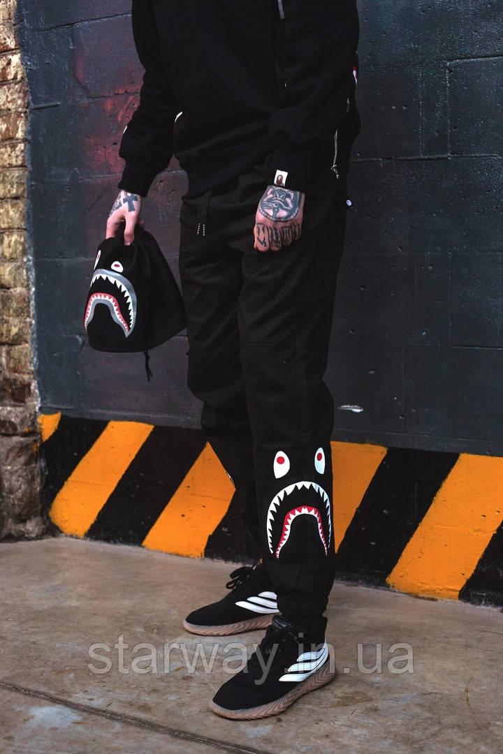 Стильные трикотажные штаны   Bape shark logo