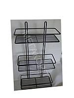 Полка прямоугольная для ванной комнаты 25 см.( 3-ярусная;2-контурная) графит