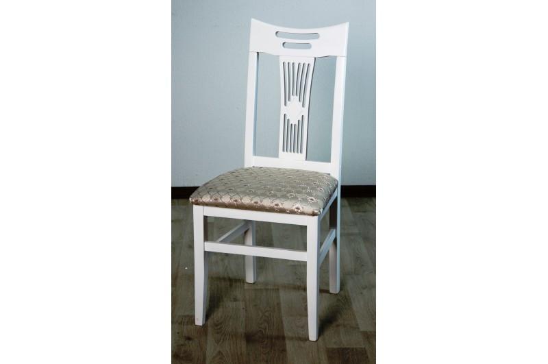 Деревянный стул Юля белый (твердая спинка) с тканевой оббивкой