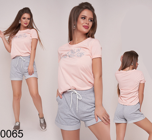 29ef4db17fad Летний женский костюм шорты на резинке + футболка (пудра) р. 42-44 ...