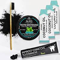 Carbon Пудра - Кокосовый Уголь, Угольная зубная щетка, Масло для полоскания полости рта, Отбеливающая паста