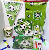 """Набор праздничной посуды и декора для оформления праздника, дня рождения """"футбол"""""""