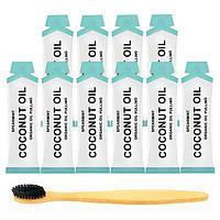 10 саше Специальное кокосовое масло для полоскания рта, Зубная щетка из бамбука с древесно-угольной щетиной