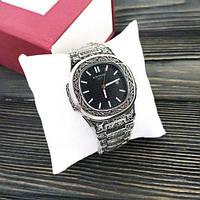 Наручные мужские часы Patek Philippe Nautilus Silver-Black Skull