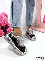 Кроссовки на дутой подошве вставка сетка с пайетками серебряные, фото 1