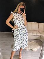 Летнее платье с пышной юбкой миди из ткани софт 8ty3039