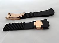 Ремешок к часам Ulysse Nardin на винтах, черный, застежка цвета золото, фото 1
