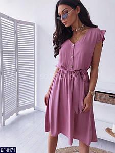 Женское нежное легкое однотонное летнее миди платье с коротким рукавом-рюшем (софт) 3 цвета