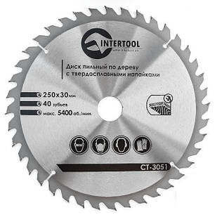 Диск пильный Intertool 250 х 40T х 30 мм (CT-3051)
