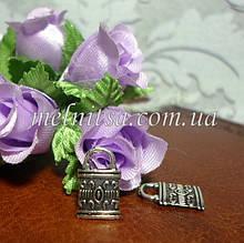 """Підвіска - шармик """"Замочок"""", 8 х 12 мм, колір античне срібло, 1 шт"""