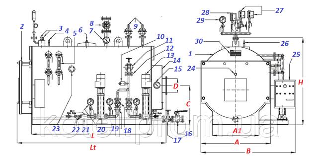 Паровой котел Ivar BLP 2000 схема