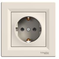 Розетка с заземлением и защитными шторками ASFORA Schneider Electric Крем
