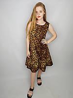 Модный сарафан свободного кроя с леопардовым принтом в белом и рыжем цвете с оборкой снизу, размер M/L.