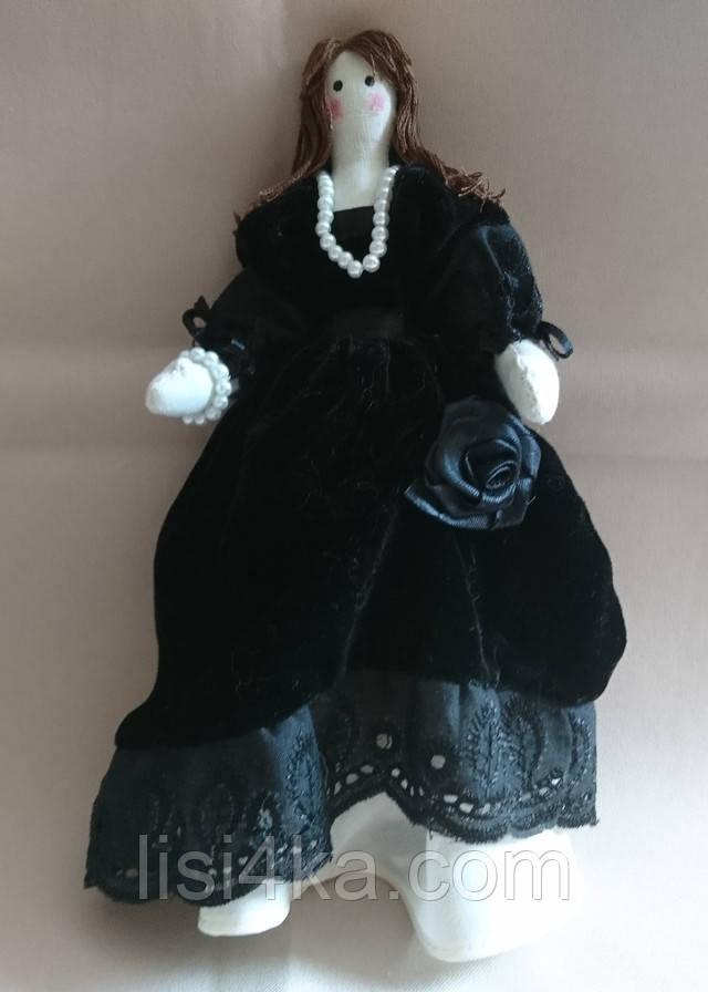 Кукла тильда интерьерная балерина в черном бархатном платье