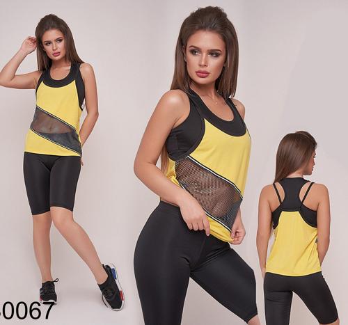 3ec780af8639 Спортивный костюм для фитнеса тройка майка + шорты + топ (желтый) р.42