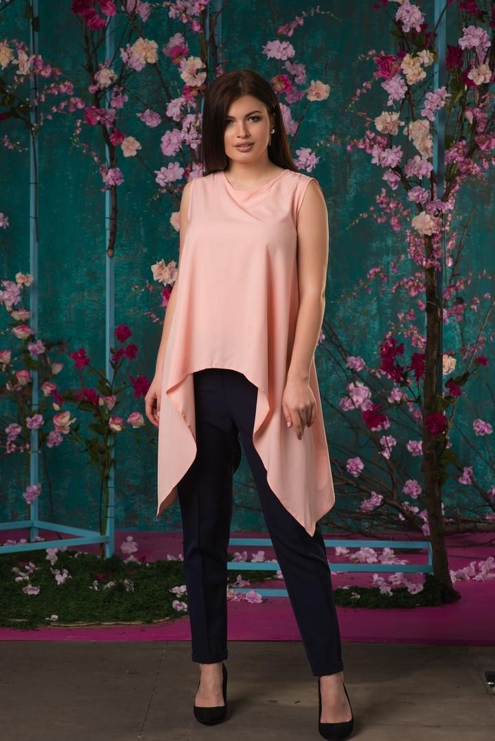 Красивая ассиметричная женская блуза  50, 52, 54, 56