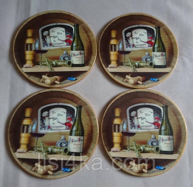 Набор подставок под чашки и бокалы коричнево-бронзовый с винным мотивом