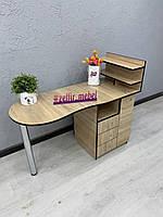 """Складной стол для маникюра в цвете """"дуб сонома"""" и черной кромкой"""