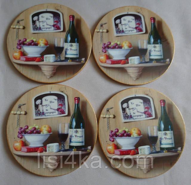 Набор подставок под чашки с винным мотивом круглые