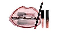 Стойкие помады + карандаш для губ Huda Beauty Matte & Cream Lip Set Bombshell/Mogul, фото 1