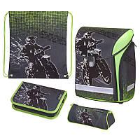 Ранец школьный укомплектованный Herlitz MIDI PLUS Motocross, для мальчиков, серый (50020423)