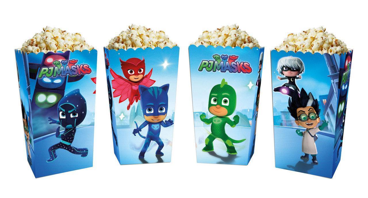 Коробочки стаканчики паперові для солодощів і попкорну Герої в масках 5 штук