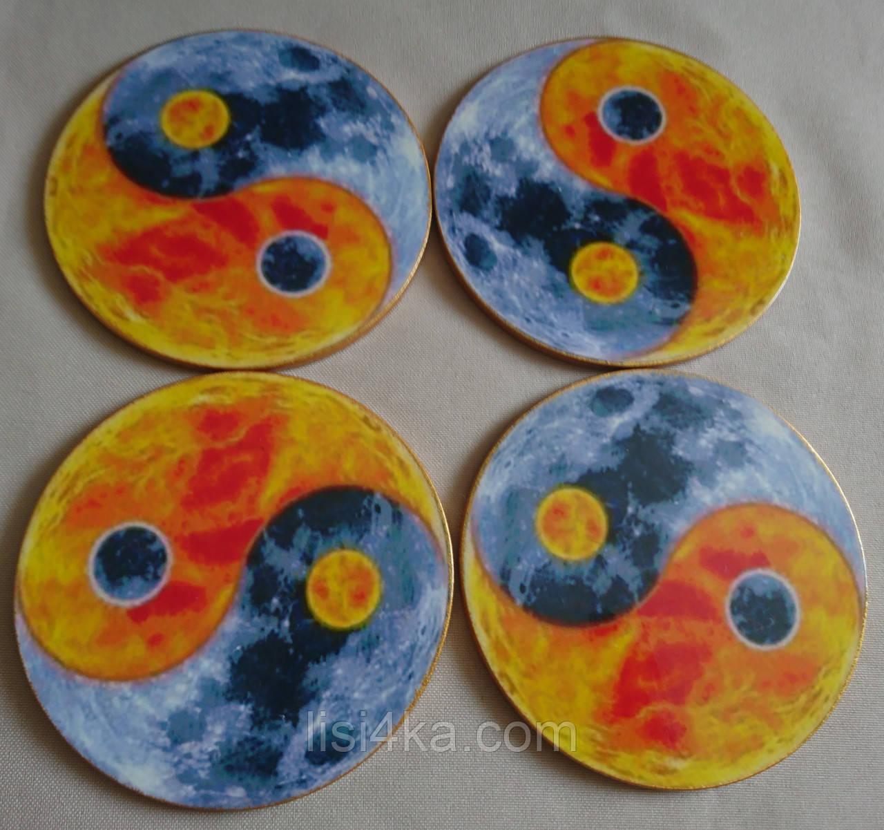 """Набор подставок под чашки и бокалы """"Инь-янь Солнце и Луна"""", фото 1"""