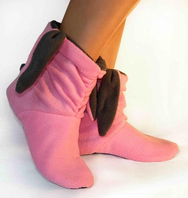 """Модные тапочки """"Зайки"""" розово - серые"""