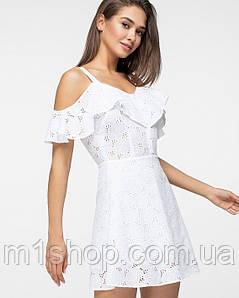 Женское летнее платье из прошвы на бретелях(5180 ie)