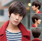 Мужской парик цвет чёрный , каштановый т медно - коричневый.