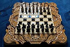 Шахматы-нарды-шашки 3 в 1, ручная работа