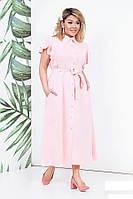 Платье льняное женское в пол, светло-розовое. Размеры 48-54