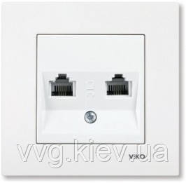 Розетка 2-я телефон tf(2 X RJ11) белая VIKO Karre  купить по самой ... 0313ce8bd41