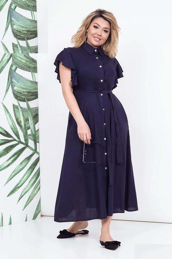 Платье льняное женское в пол, синее. Размеры 48-54