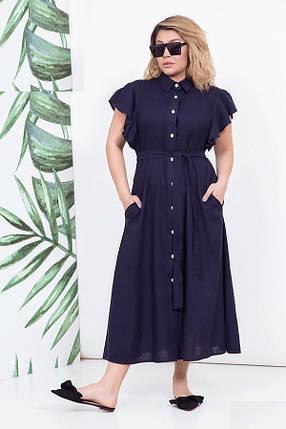 Платье льняное женское в пол, синее. Размеры 48-54, фото 2