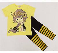 Костюмы для девочек, футболка и лосины бриджи, фото 1