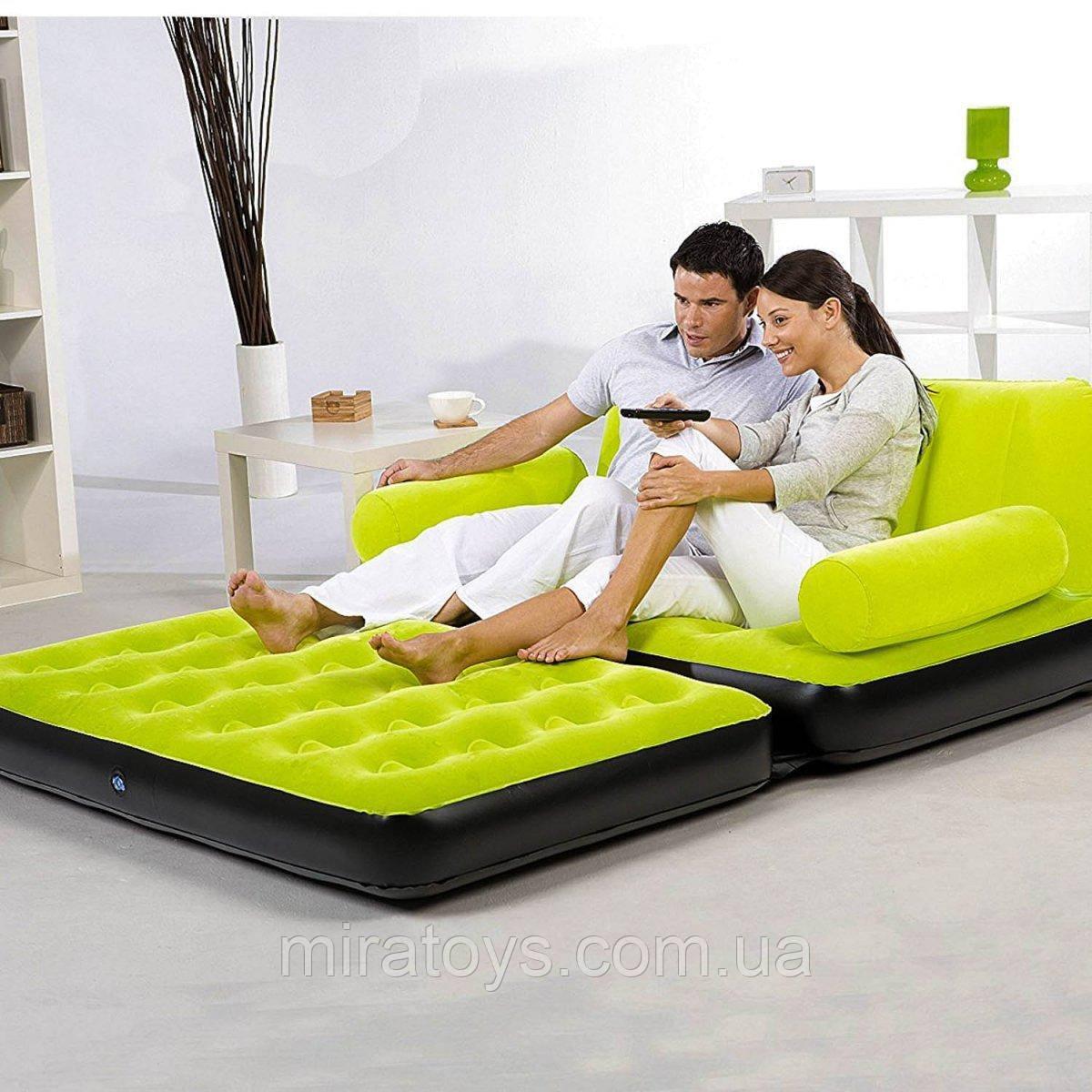 ✅Надувной диван Bestway 67356, 188 х 152 х 64 см с электрическим насосом. Зеленый, 2 в 1