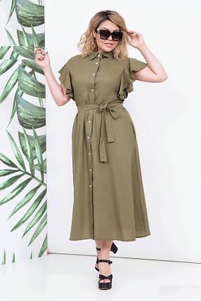 Женское льняное платье в пол, хаки. Размеры 48-54, фото 2
