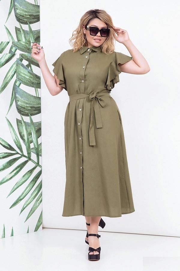 Женское льняное платье в пол, хаки. Размеры 48-54